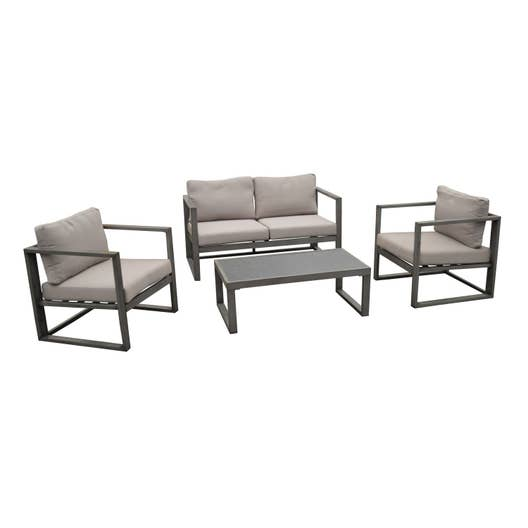 salon bas de jardin antibes aluminium gris 4 personnes leroy merlin. Black Bedroom Furniture Sets. Home Design Ideas