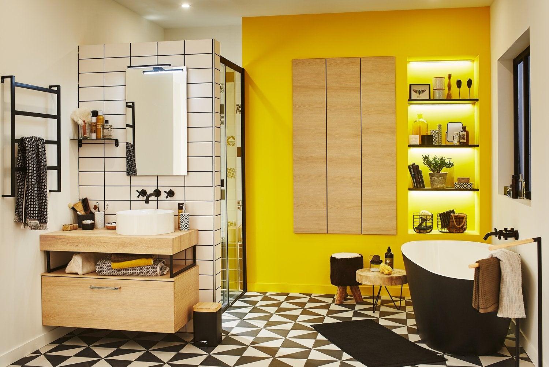 Jeux graphiques pour une salle de bains urbaine | Leroy Merlin