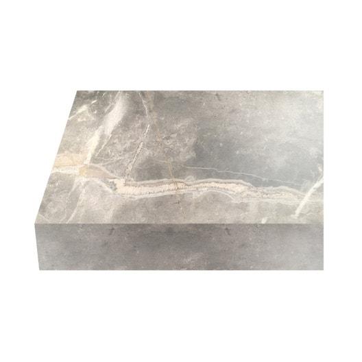 Plan de travail stratifi marbre gris mat x cm - Plan de travail cuisine largeur 100 cm ...