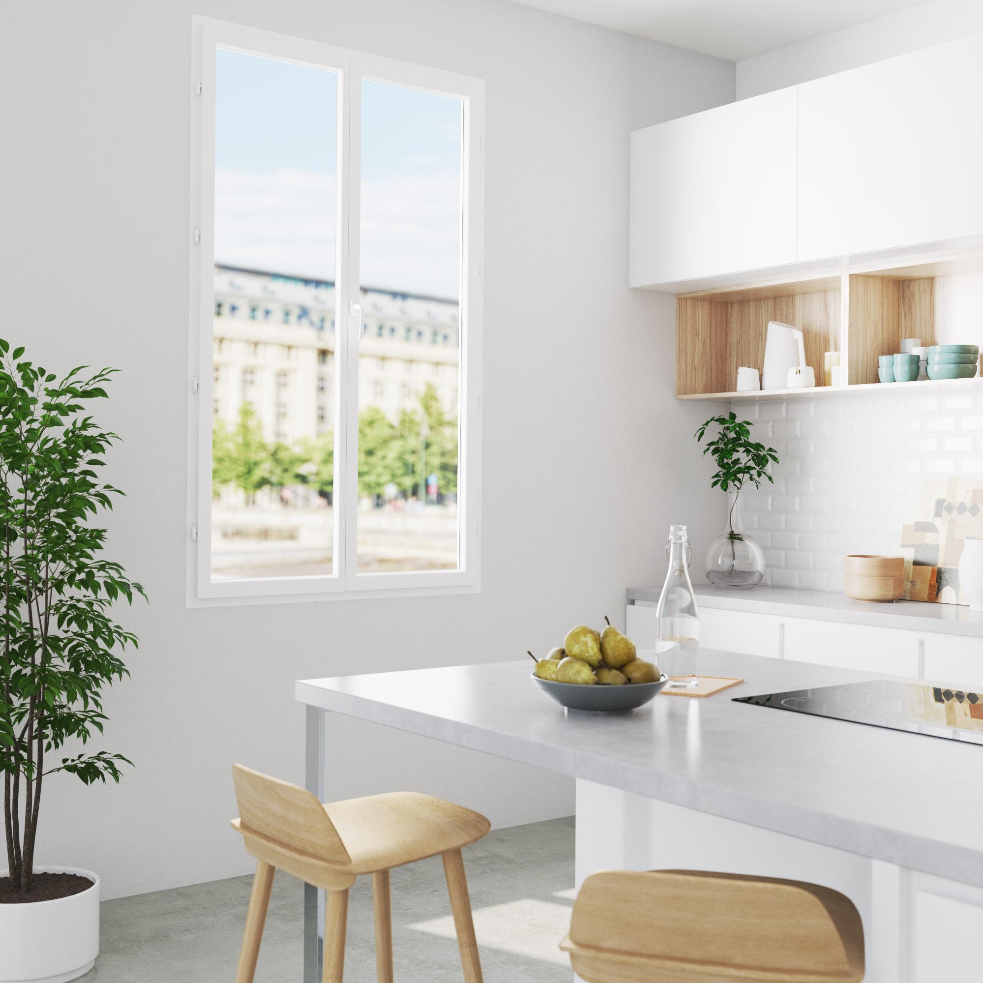 Fenêtre PVC H.195 x l.120 cm, blanc / blanc, 2 tirant droit | Leroy Merlin