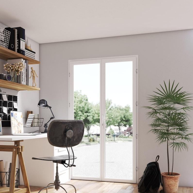 Porte Fenêtre Pvc H 205 X L 120 Cm Blanc Blanc 2 Vantaux Tirant Droit