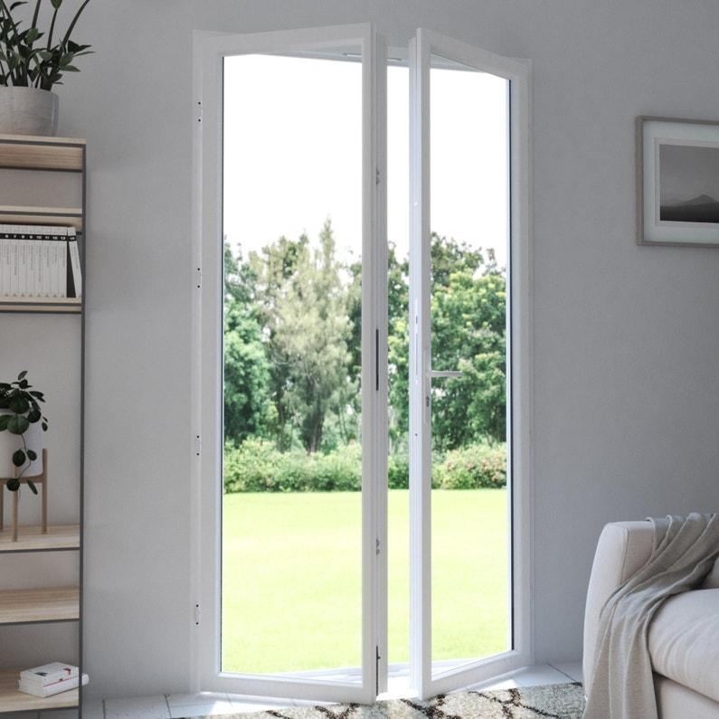 Porte Fenêtre Pvc H 215 X L 140 Cm Blanc Blanc 2 Vantaux Tirant Droit