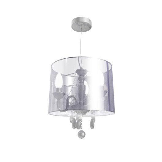 Lustre baroque bernadette plastique chrom 3 x 40 w seynave leroy merlin - Lustre en gobelet plastique ...