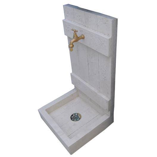 Fontaine de jardin en pierre reconstitu e pierre vieillie bois leroy merlin - Fabrication d une fontaine de jardin ...