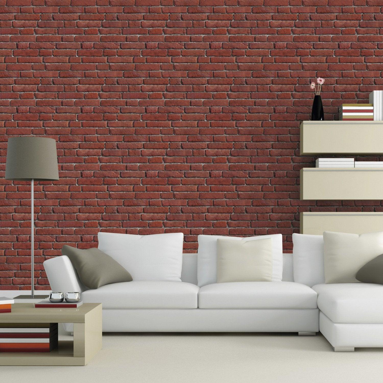 du papier peint trompe l 39 oeil fait de brique blanche pour. Black Bedroom Furniture Sets. Home Design Ideas