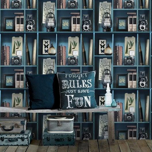 Papier Peint Intissé Cabinet De Curiosite Bleu | Leroy Merlin