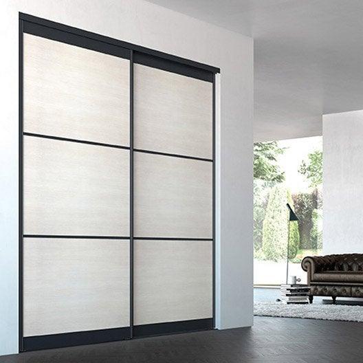 Porte de placard coulissante sur mesure iliko opaline tl de 80 1 100 cm l - Porte placard coulissante 50 cm ...