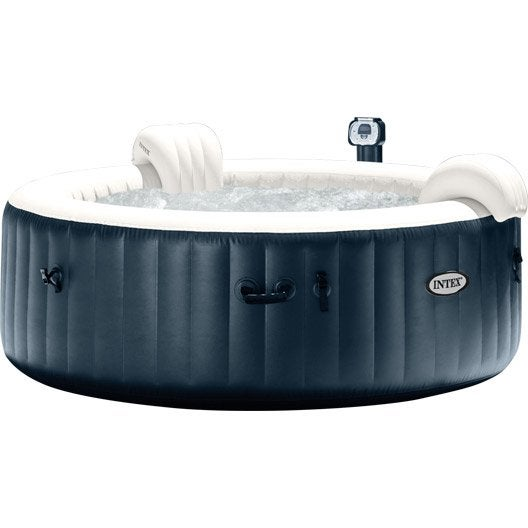 Spa gonflable intex pure spa bulles led rond 4 places assises for Spa carrefour
