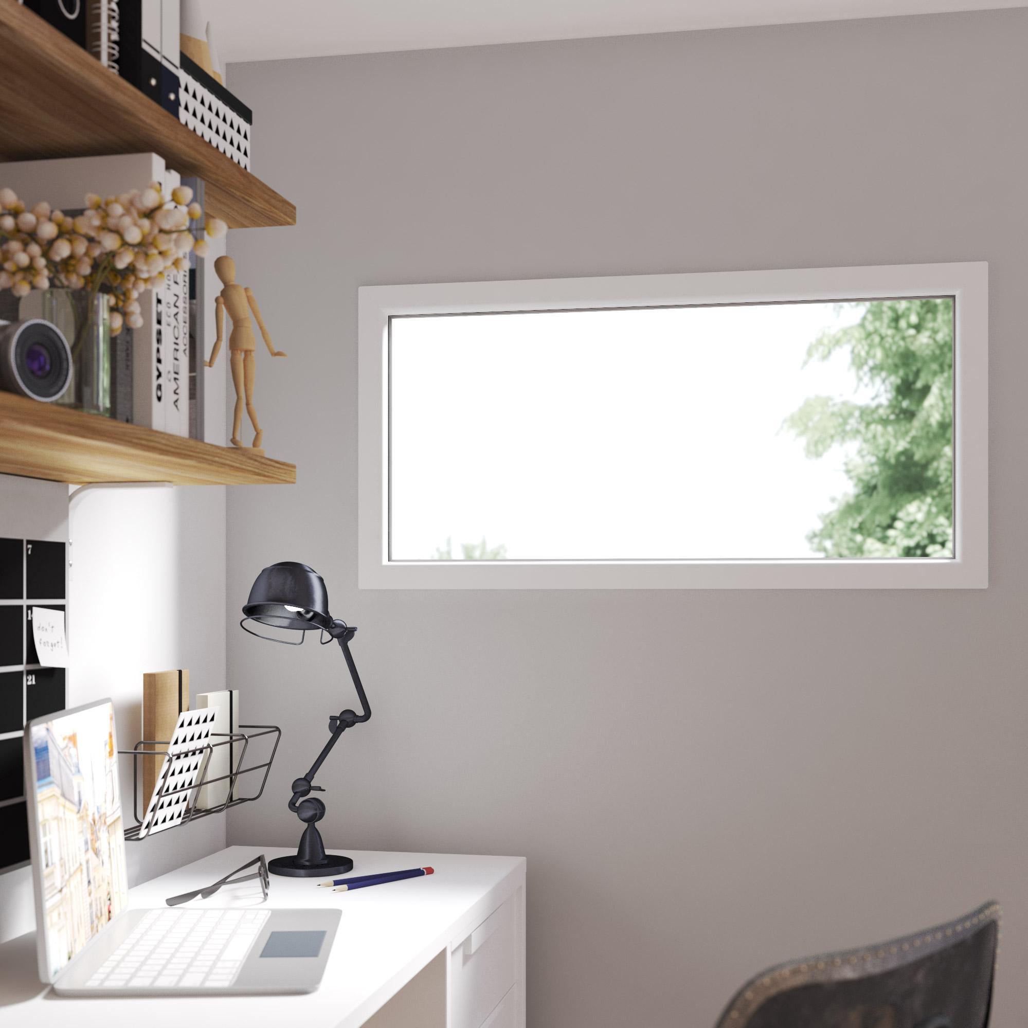 Fenêtre PVC H.60 x l.120 cm, blanc / blanc, 1 vantail fixe | Leroy Merlin