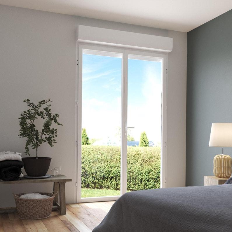 Porte Fenêtre Pvc Avec Volet Roulant H 215 X L 120 Cm Blanc 2 Vantaux Tirant D