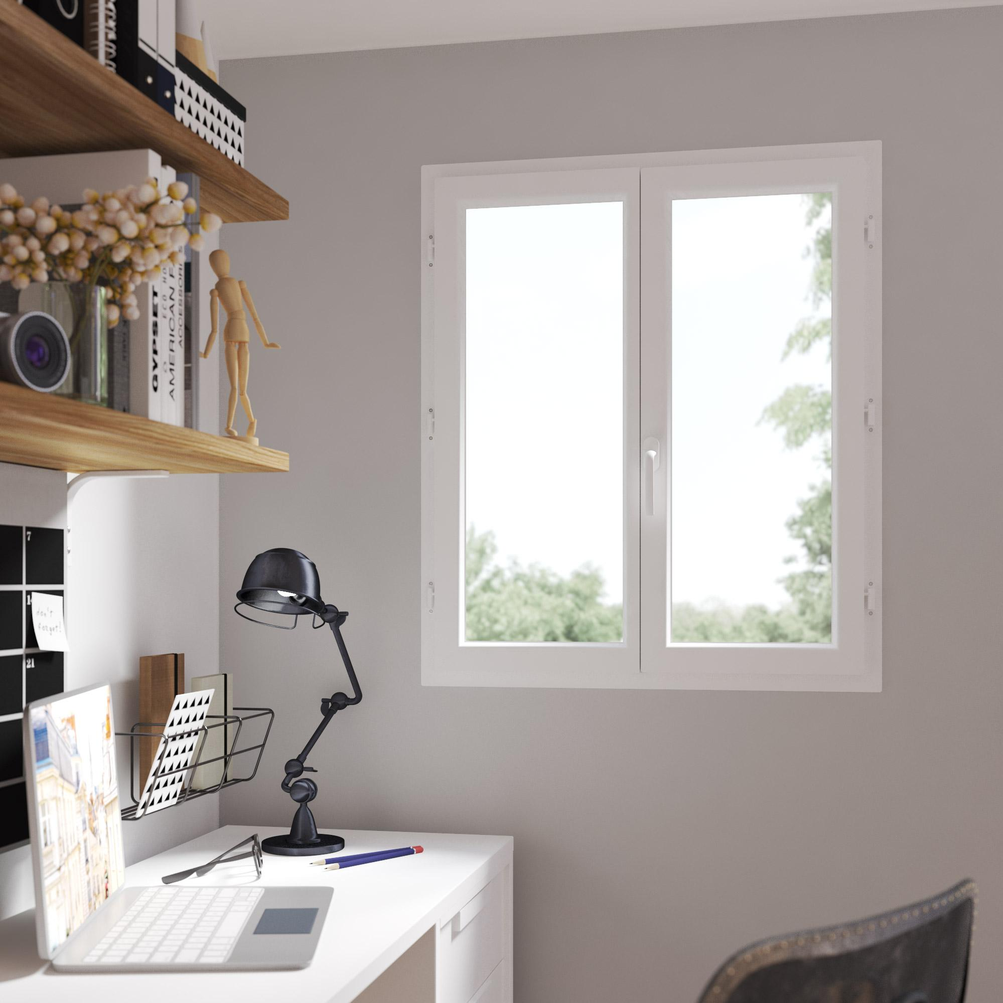 Fenêtre PVC H.105 x l.100 cm, blanc / blanc, 2 tirant droit