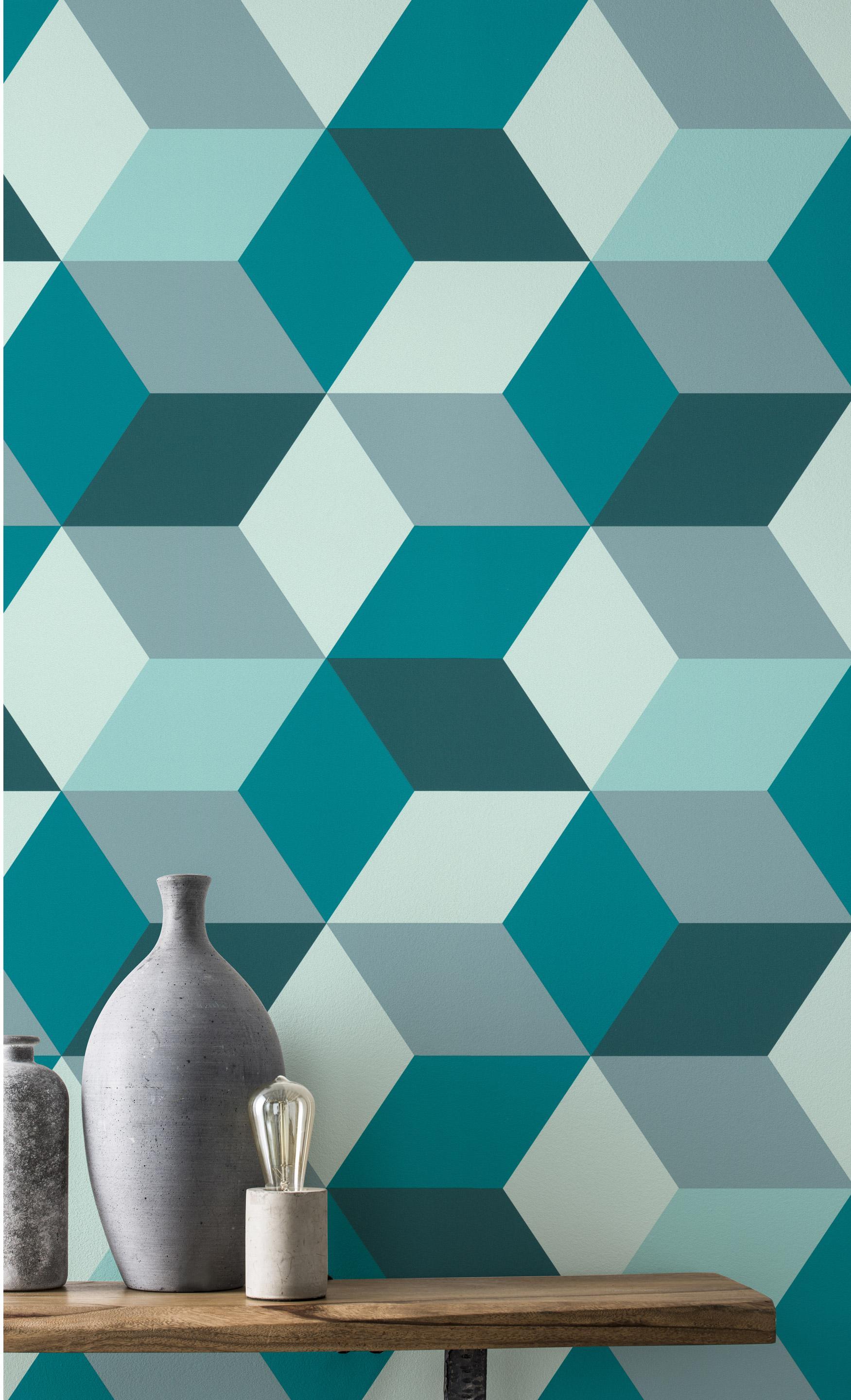 Papier peint vinyle sur intissé Motif hexagone bleu et vert