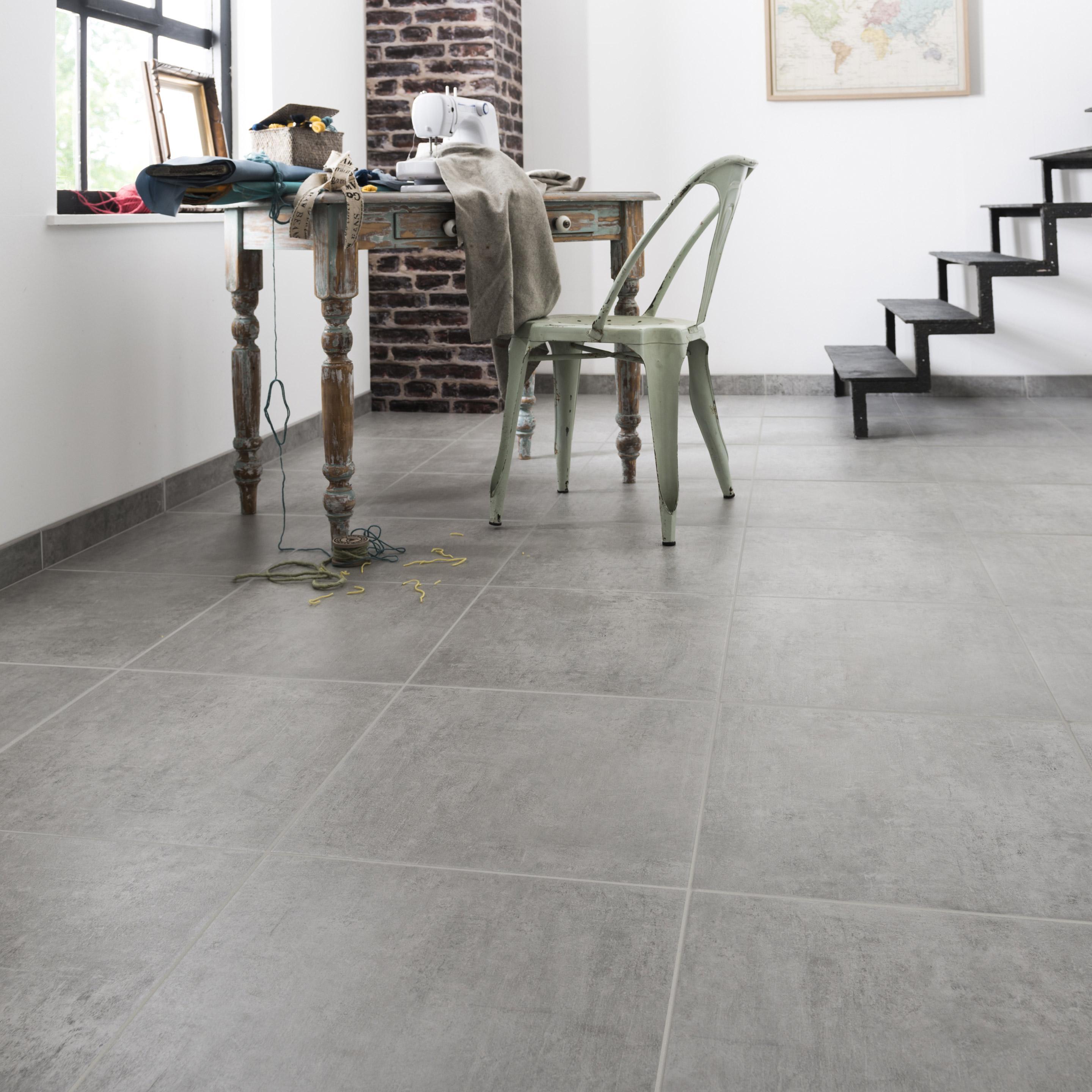Carrelage sol et mur forte effet béton gris Alma l.45 x L.45 cm