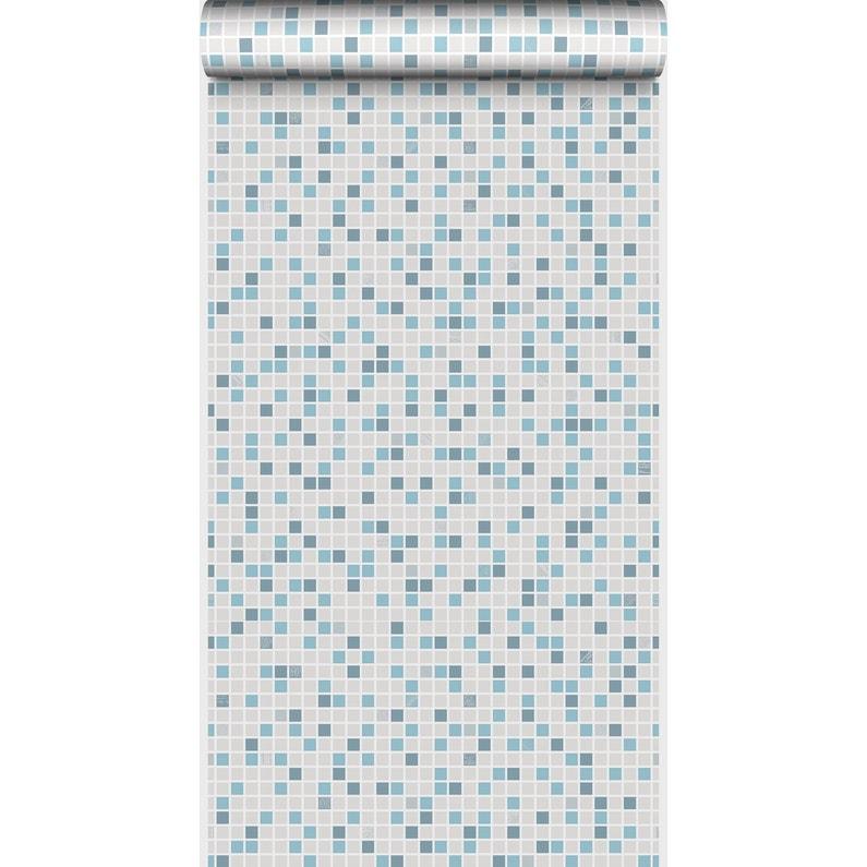 Papier Peint Papier Checker Bleu Leroy Merlin