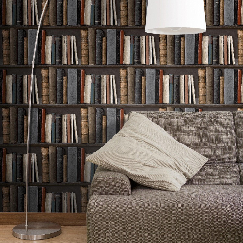 Des papiers peints trompe l 39 oeil leroy merlin - Tapisserie trompe l oeil bibliotheque ...