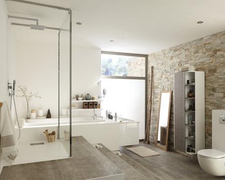 Les plaquettes de parement donnent du style à la salle de bains