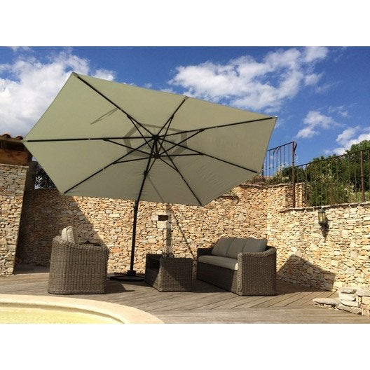 Parasol d port marco gris rectangulaire x cm - Parasol deporte inclinable leroy merlin ...
