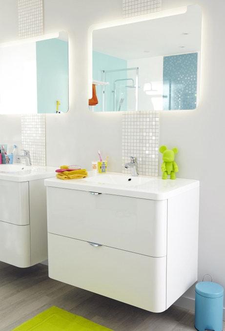 Une touche arrondie pour les meubles de salle de bains neo - Meuble salle de bain leroy merlin neo ...