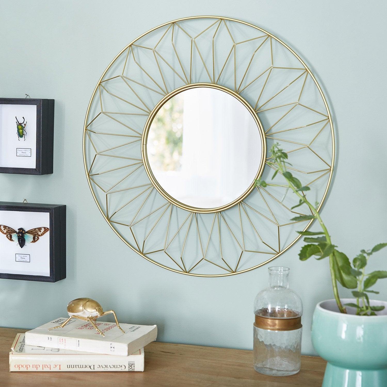 Miroir rond Sofi, dorée, l.25 x H.25 cm