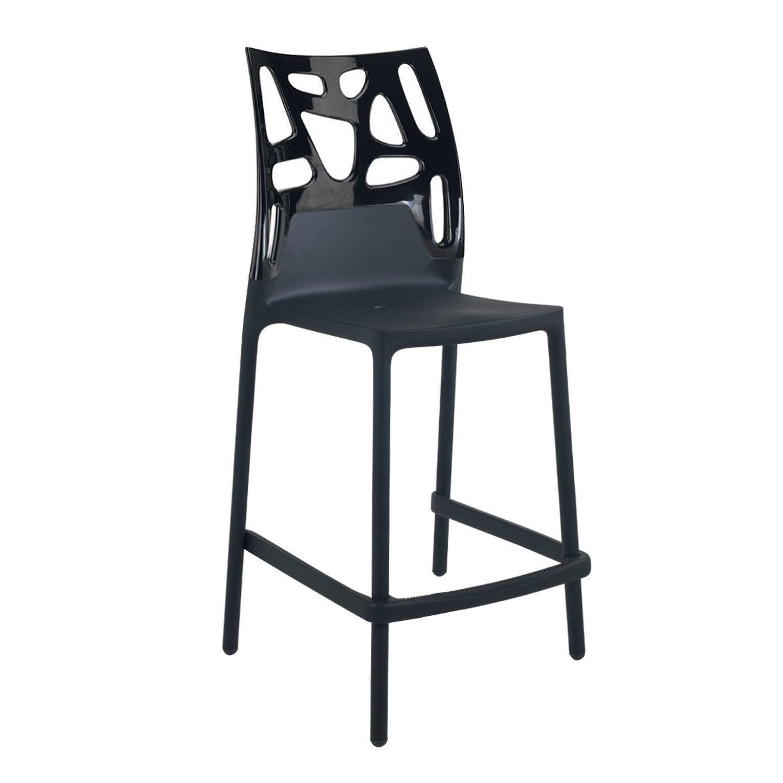 Tabouret de bar, plastique, assise noire, LUISINA vickie