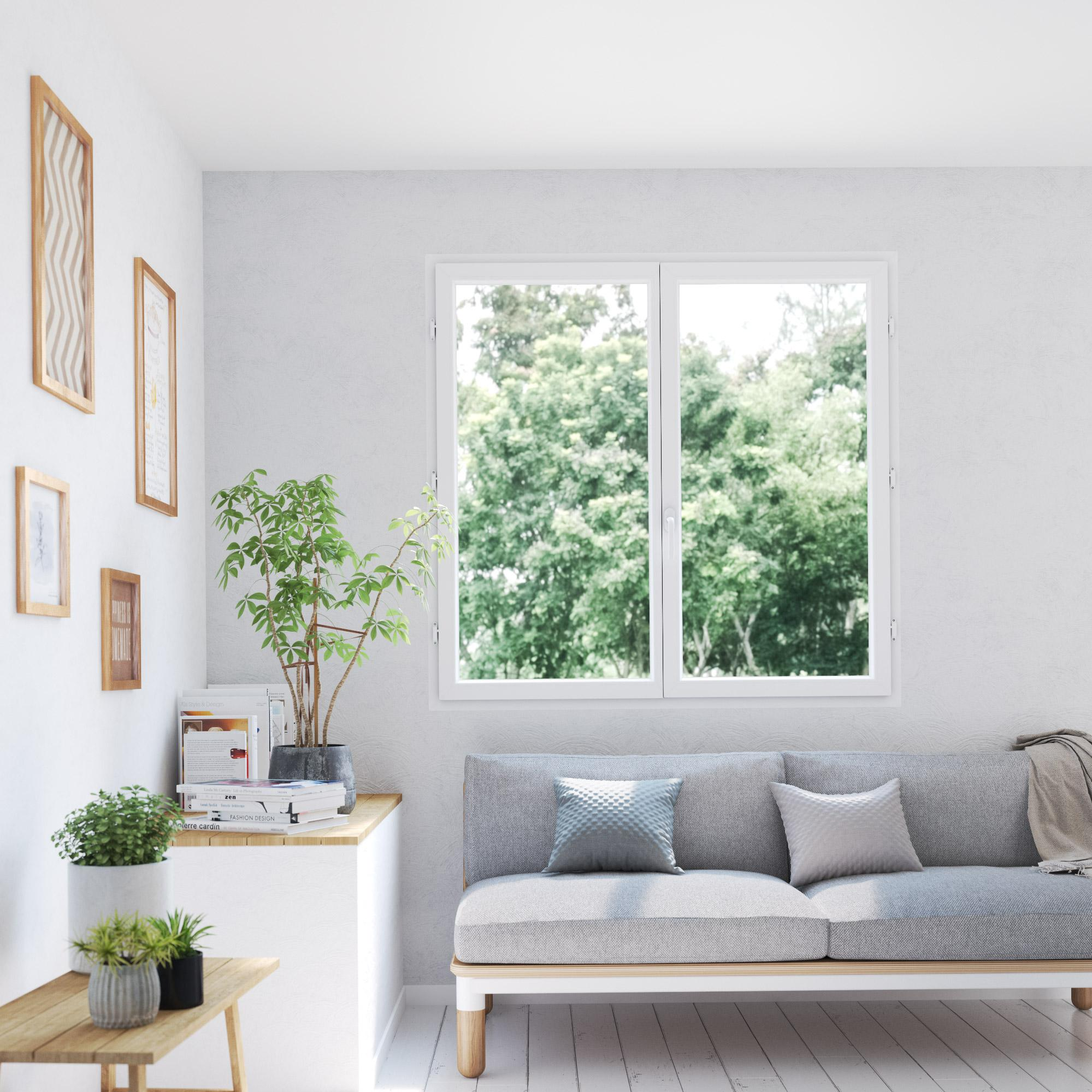 Fenêtre PVC H.135 x l.120 cm, blanc / blanc, 2 tirant droit