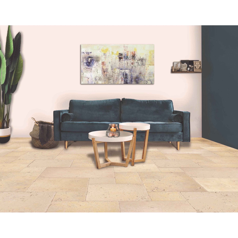 Travertin sol/mur intenso effet pierre beige Opus rustique multiformat