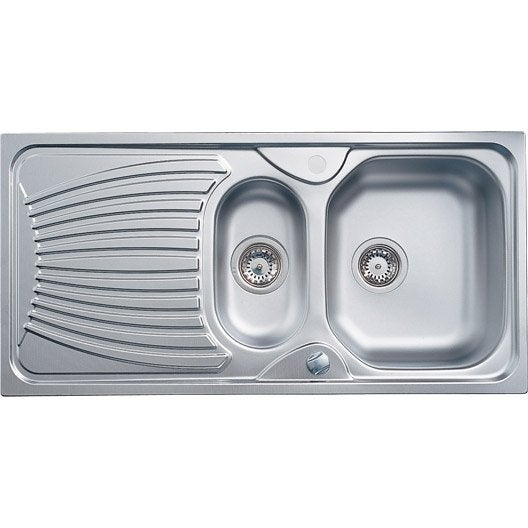 Evier encastrer inox lynx 1 5 bac avec gouttoir for Dimension evier double