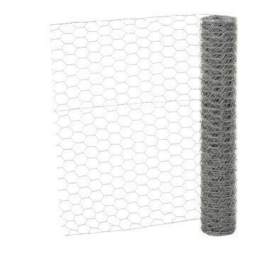 Grillage triple torsion gris H.1 x L.10 m, maille de H.25 x l.25 mm