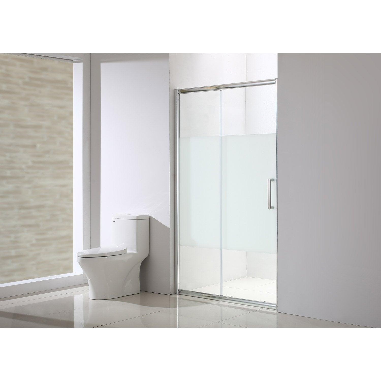 Porte de douche coulissante 140 cm, sérigraphié, Quad | Leroy Merlin