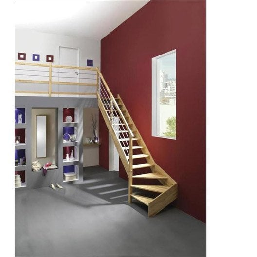 Escalier quart tournant bas gauche urban tube structure bois marche bois leroy merlin Escalier quart tournant haut pas cher