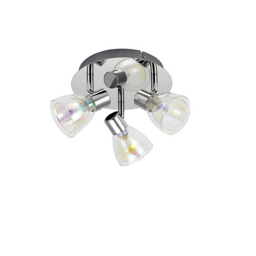 plafonnier 3 spots moderne iriz 3 xg9 transparent leroy merlin. Black Bedroom Furniture Sets. Home Design Ideas