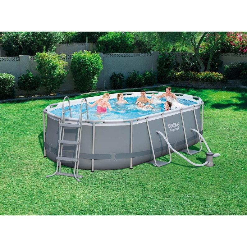 Piscine Horssol Tubulaire Powersteel BESTWAY L X L X H - Carrelage piscine et tapis de proprete leroy merlin