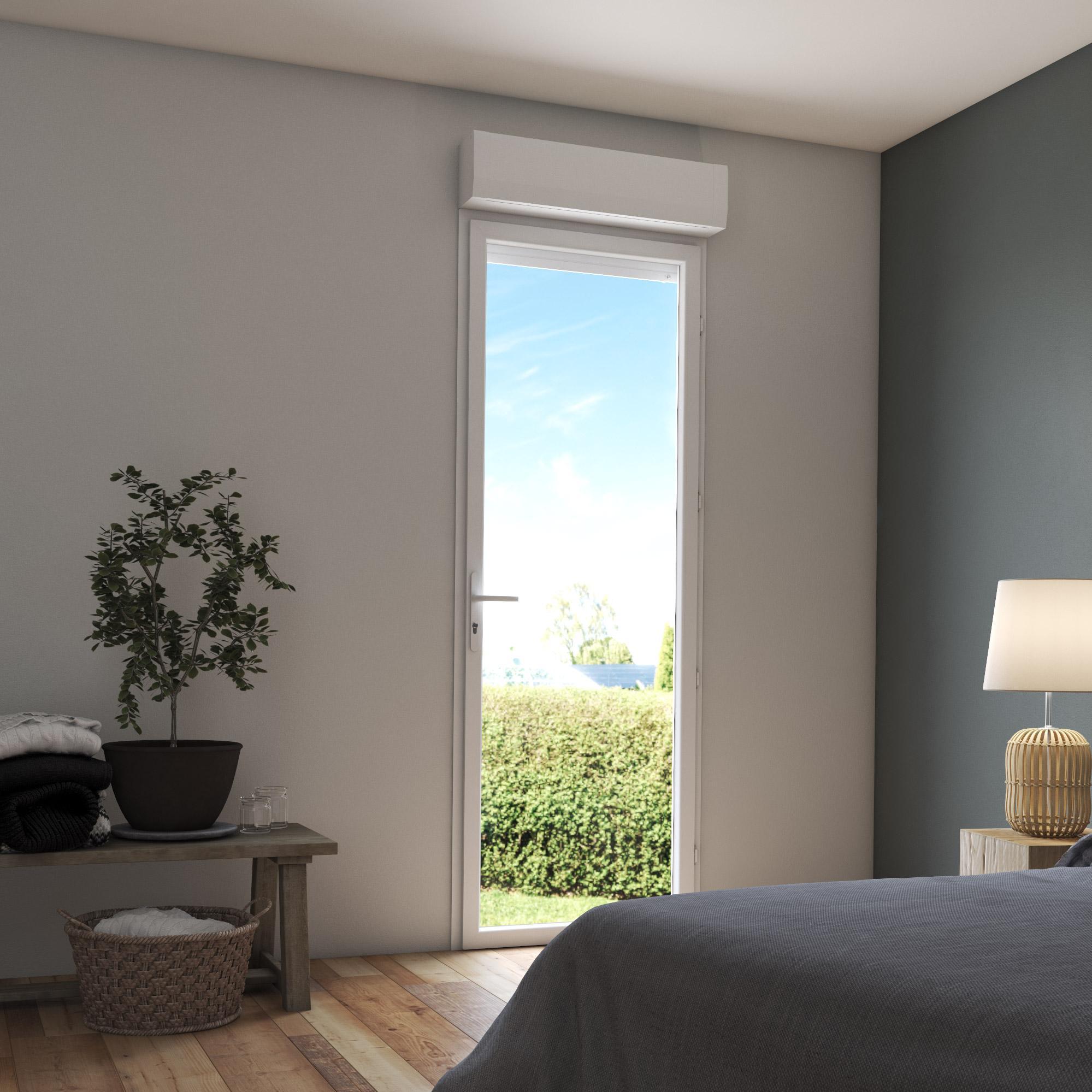 Porte-fenêtre PVC avec volet roulant H.215 x l.80 cm blanc, 1 vantail tirant d. | Leroy Merlin