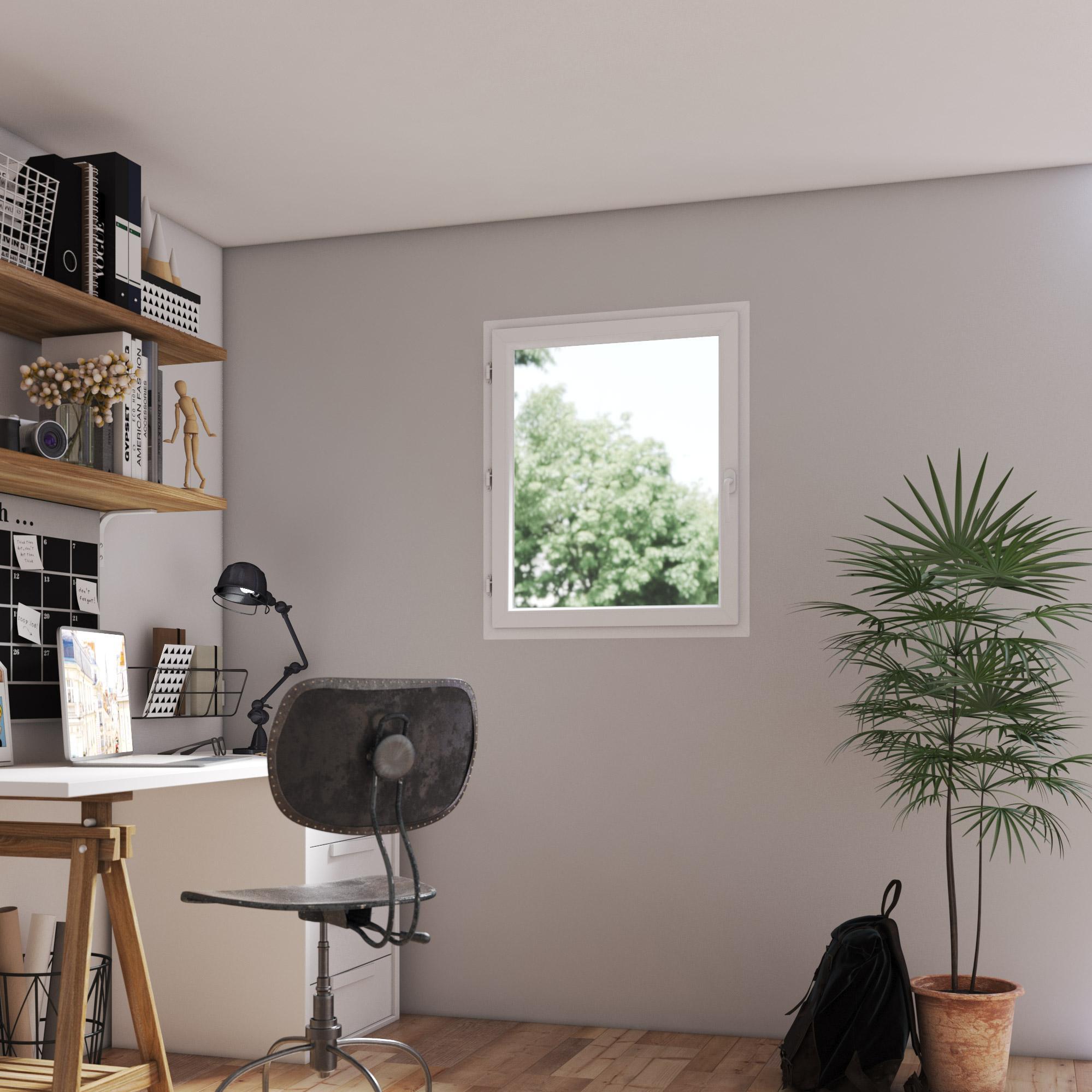Fenêtre PVC H.95 x l.60 cm, blanc / blanc, 1 tirant gauche