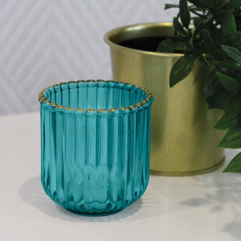 Photophore Octavia, verre, vert l.7.5 x H.7.5 cm