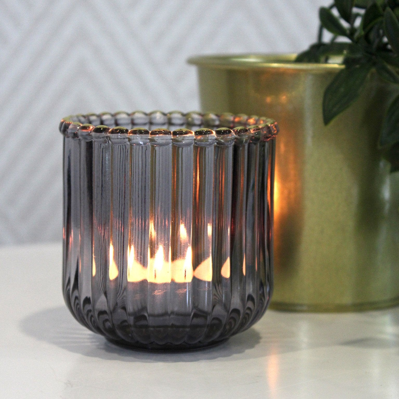 Photophore Octavia, verre, gris l.7.5 x H.7.5 cm