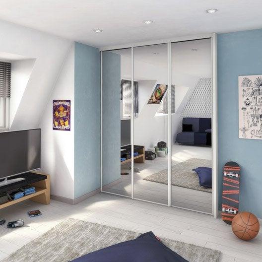 Porte de placard coulissante miroir argent spaceo x h for Porte miroir 60 cm