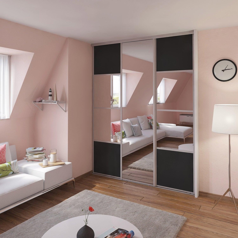 porte de placard coulissante spaceo x cm leroy merlin. Black Bedroom Furniture Sets. Home Design Ideas