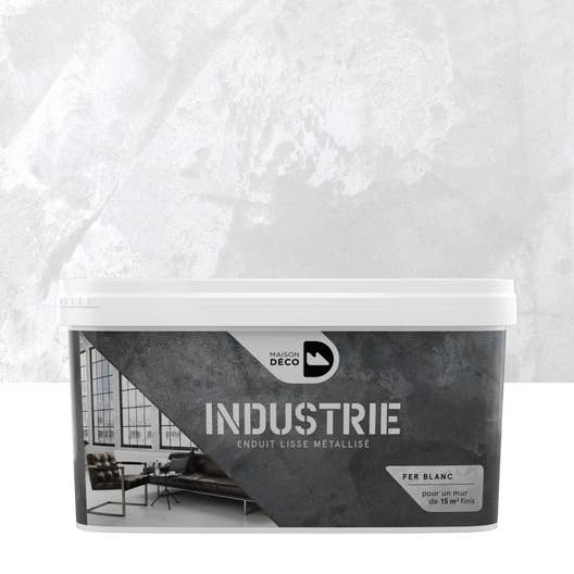 Peinture effet industrie maison deco fer blanc 4 kg for Industrie salon