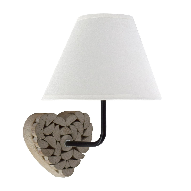 Applique, campagne coton bois naturel Carlita 1 lumière(s)