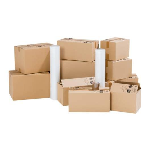 kit d m nagement pour logement 35m cartons films bulle adh sifs leroy merlin. Black Bedroom Furniture Sets. Home Design Ideas