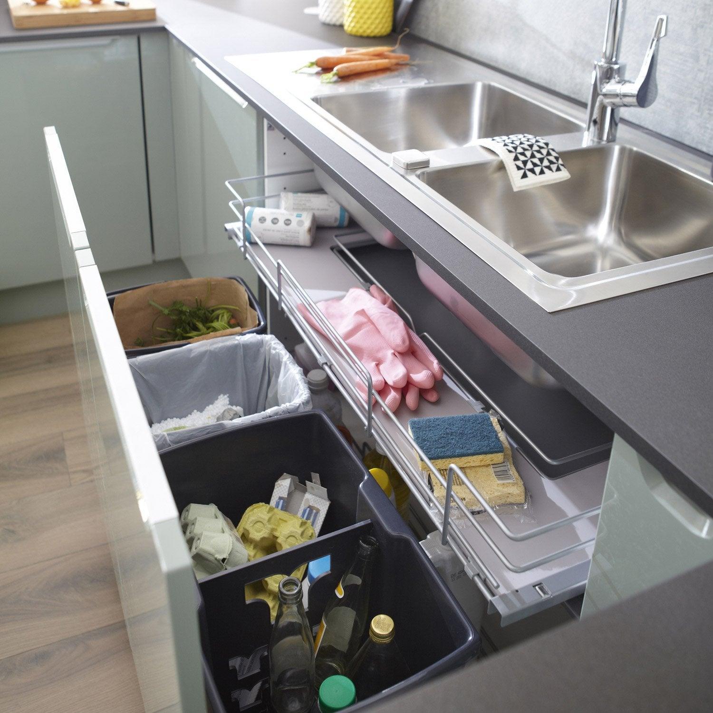 Rangement coulissant sous-évier 4 poubelles pour meuble l.100 cm ...