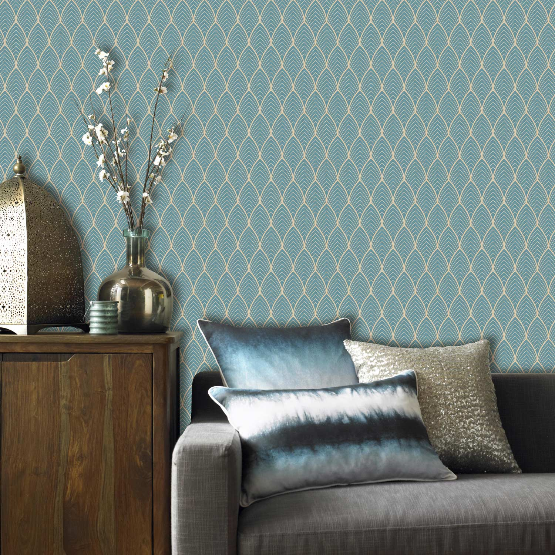 Papier peint vinyle Bercy bleu or