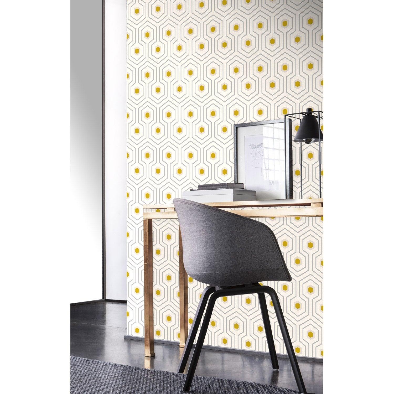 Papier peint intissé Géo motifs, jaune/gris foncé