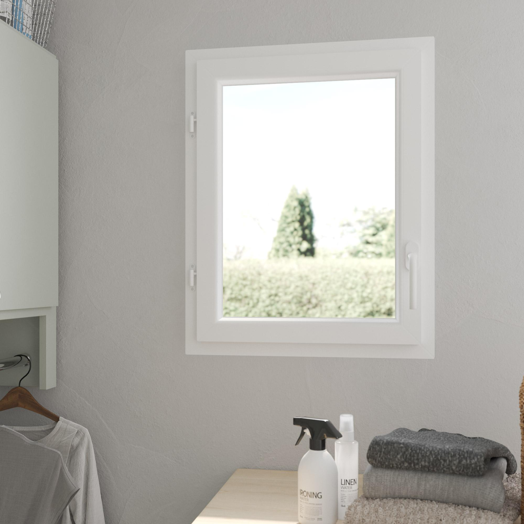 Fenêtre PVC H.75 x l.60 cm, blanc / blanc, 1 tirant gauche