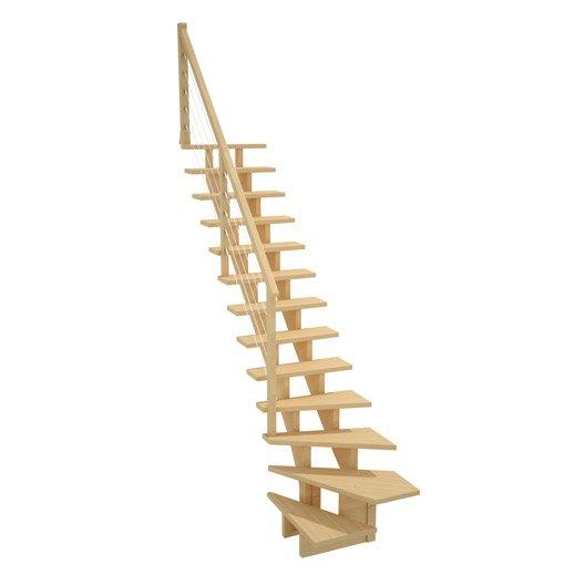 Escalier quart tournant bas droit allure c ble structure bois marche bois l - Escalier 2 quart tournant leroy merlin ...