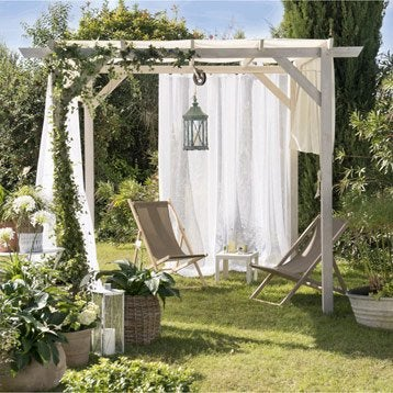 Pergola autoportante Glycine, bois naturel, 9 m²