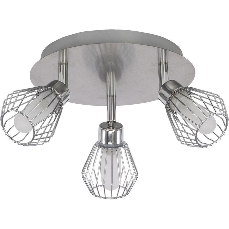 Plafonnier 3 Spots Design Metal Acier Chrome INSPIRE D335 Cm