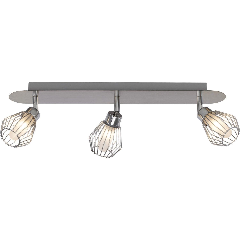 Rampe 3 spots, industriel, métal acier, chrome, INSPIRE Keila