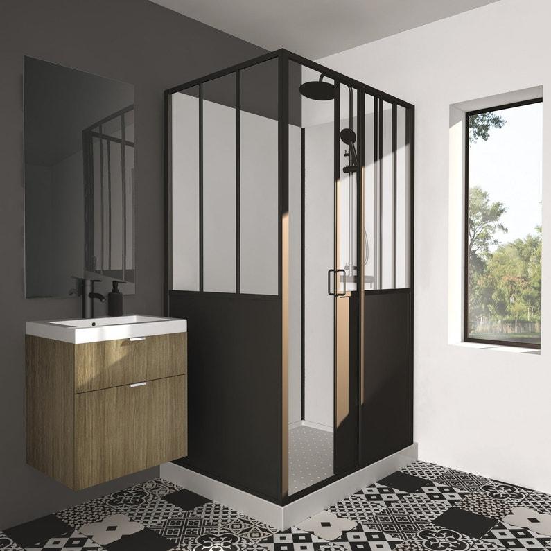 Cabine de douche rectangulaire L.120 x l.90 cm noir noir, Atelier ...